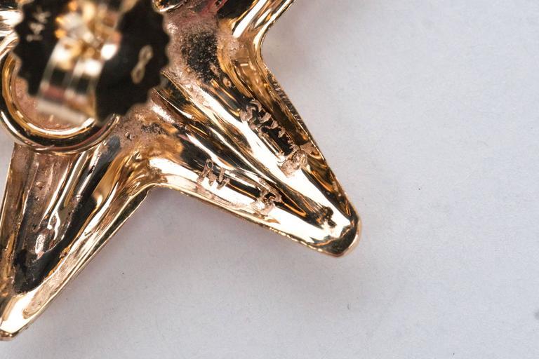 Seaman Schepps Mid-Century Modernist Gold Starfish Earrings For Sale 1