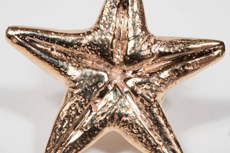 Seaman Schepps Mid-Century Modernist Gold Starfish Earrings For Sale 3