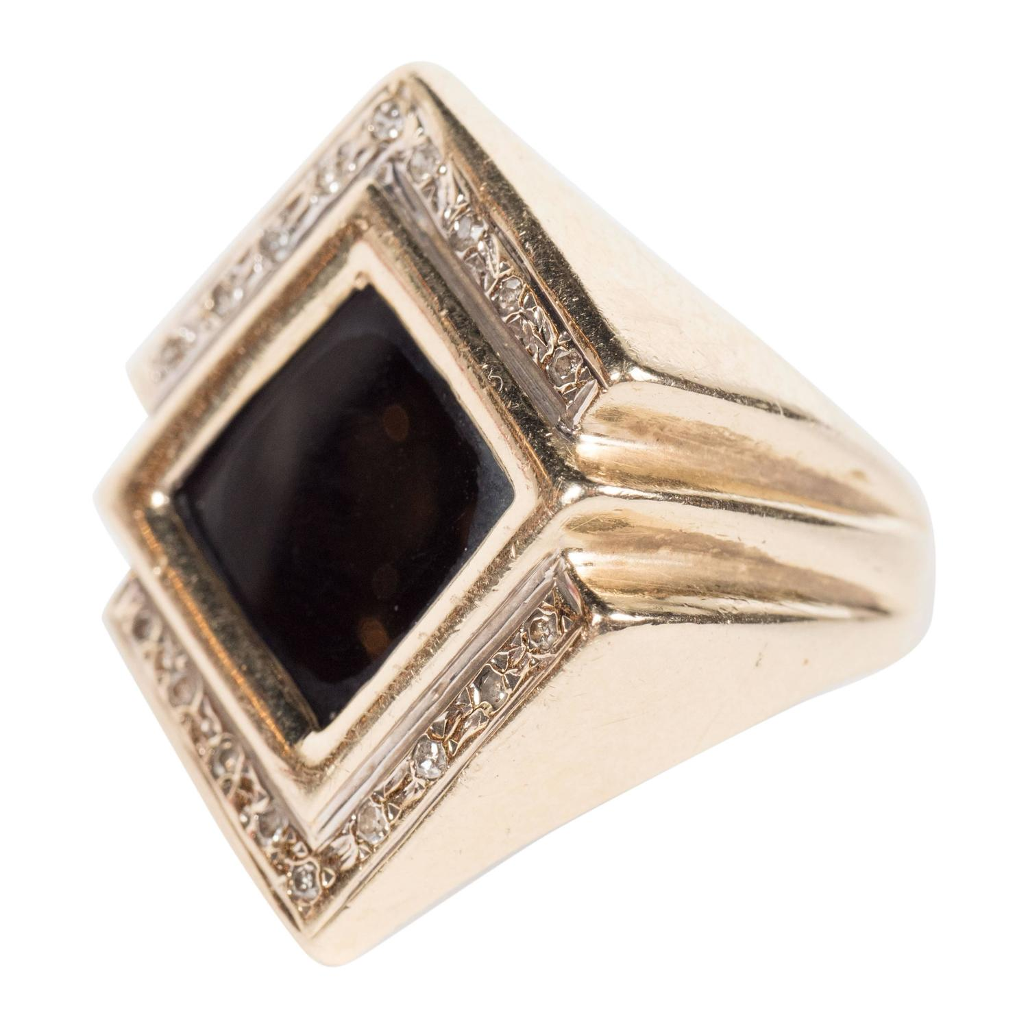 Black yx Diamond Gold Ring For Sale at 1stdibs