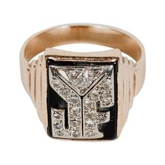 Art Deco Skyscraper Style Black Onyx Diamond Gold Monogram J F Ring