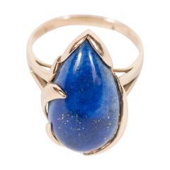 Mid-Century Modernist Lapis Lazuli Gold Ring