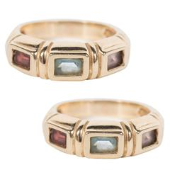 Modernist Aquamarine Citrine Garnet Gold Stacking Rings