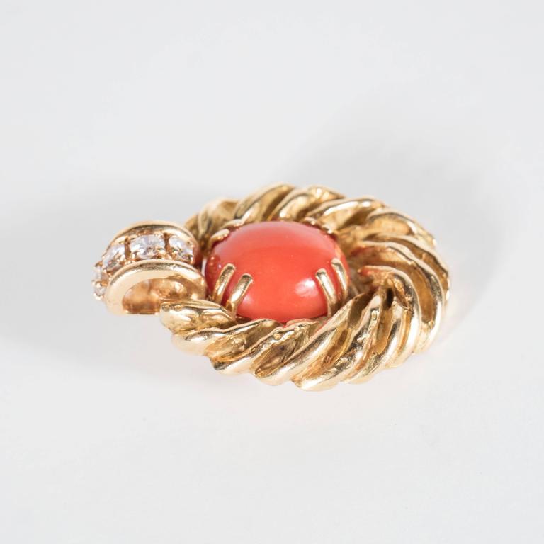 Chaumet Paris Gorgeous Mid-Century Coral Diamond Gold Earrings 2