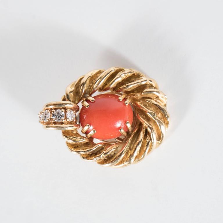 Chaumet Paris Gorgeous Mid-Century Coral Diamond Gold Earrings 3