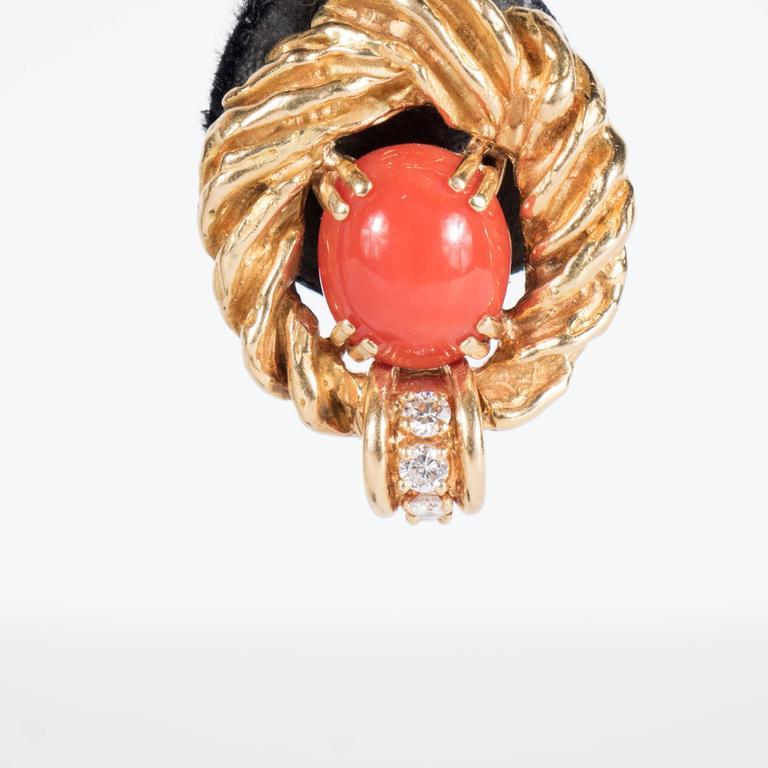 Chaumet Paris Gorgeous Mid-Century Coral Diamond Gold Earrings 4