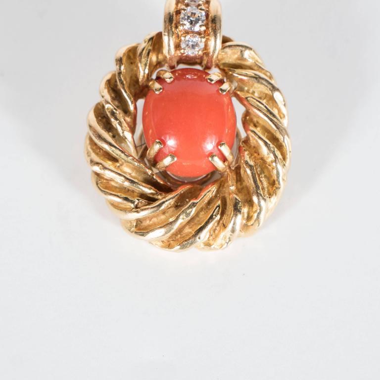 Chaumet Paris Gorgeous Mid-Century Coral Diamond Gold Earrings 5