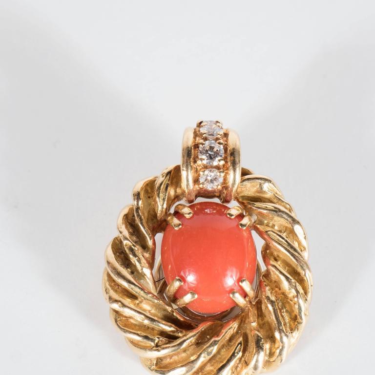 Chaumet Paris Gorgeous Mid-Century Coral Diamond Gold Earrings 6