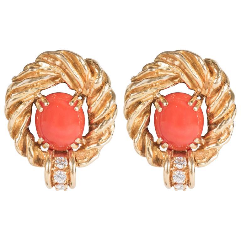 Chaumet Paris Gorgeous Mid-Century Coral Diamond Gold Earrings 1