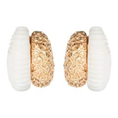 Mid-Century Carved White Coral Textured Gold Double Half Hoop Design Earrings