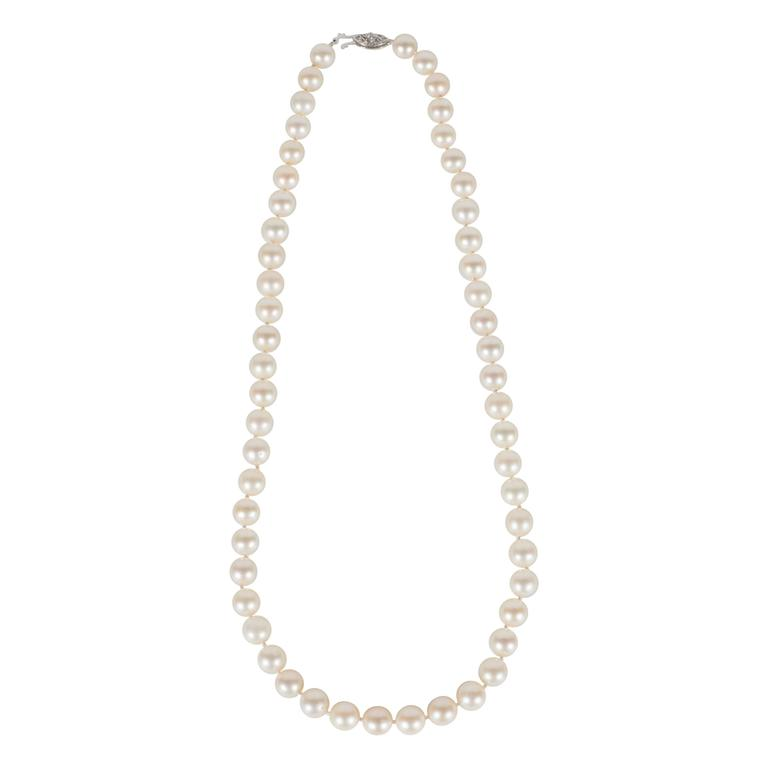 Mid Century Modernist Matched Cultured Pearl Diamond Gold Necklace