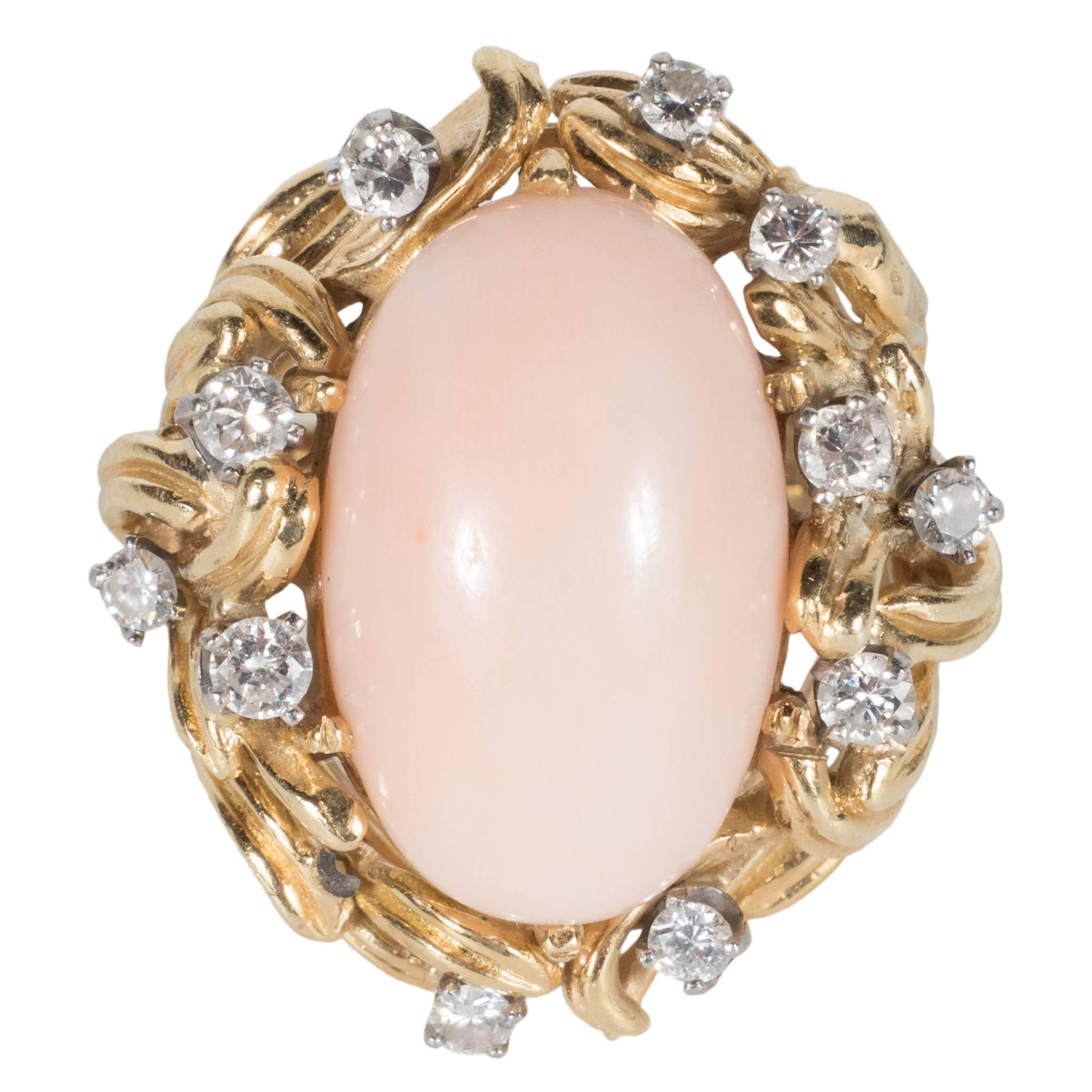 Mid-Century Angel Coral Diamond Gold Dome Ring