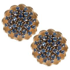 Mid-Century Stylized Sapphire Gold Floral Earclips