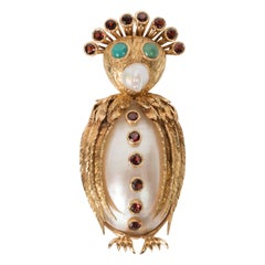 Mid-Century Modernist Freshwater Pearl Garnet Gold Owl