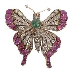 Stunning Carved Rubies Emeralds Diamonds White Gold Butterfly Brooch