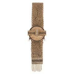 Enamel Gold Bracelet with Natural Pearls and Greek Key Designs