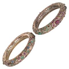 Mid-Century Indian Emerald Ruby Sapphire White Gold Bracelets