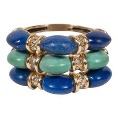 Mid-Century Lapis Lazuli Turquoise Diamond Green Gold Stacked Rings