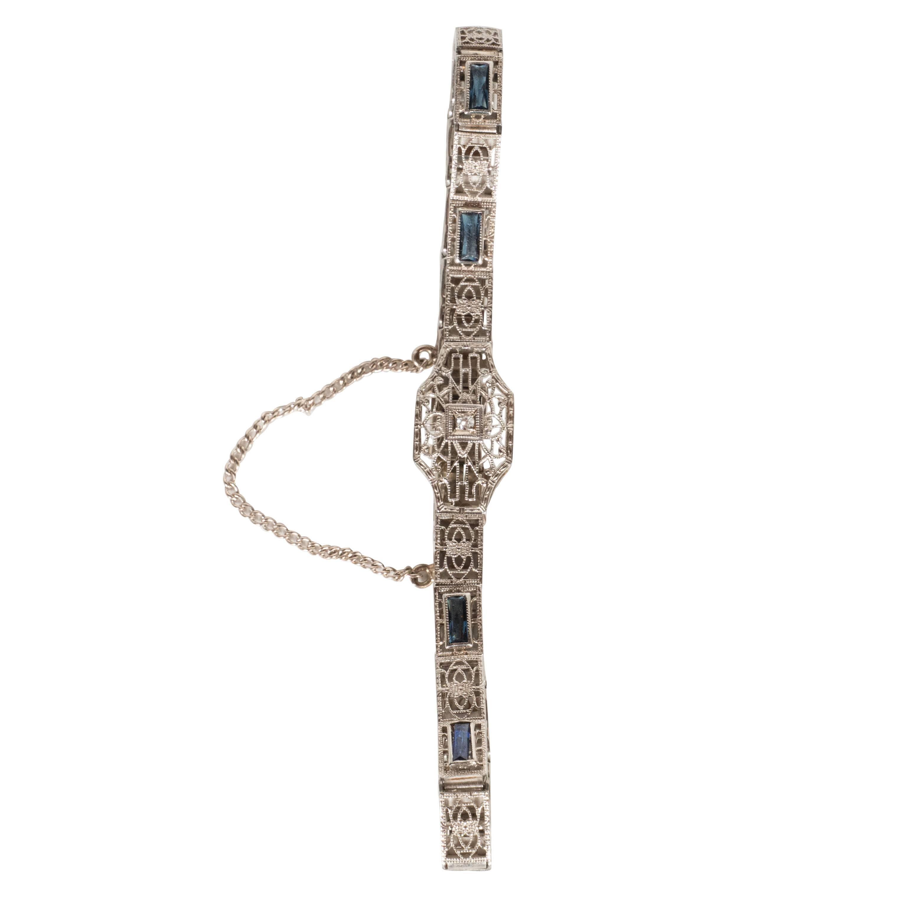 Elegant Art Deco Diamond Bracelet in Filigreed White Gold