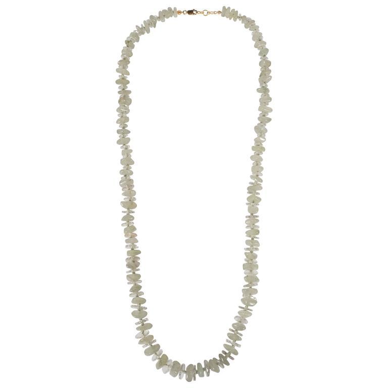Mid-Century Modernist Necklace of Crystal Rondelles and Aventurine Quartz Beads