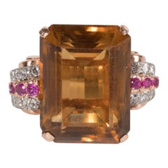 Stunning Retro 14 Karat Rose Gold Topaz Ring with Diamonds and Rubies
