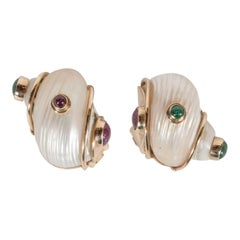 Mid-Century Seamann Schepps Shell Earrings with Cabachon Emeralds and Rubies
