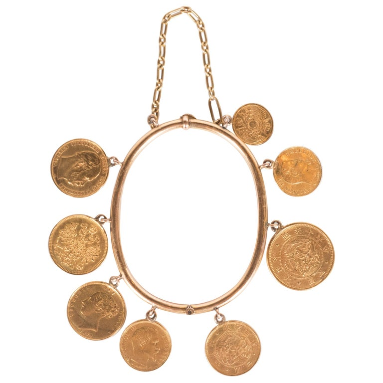 """French """"Roaring"""" 1920s Gold Charm Bracelet with 22 Karat Gold Coins"""