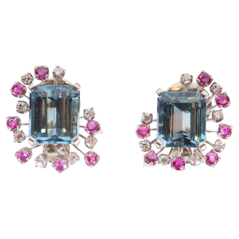 1940s 12 Carat Aquamarine and 14K White Gold Earrings with Diamonds &and Rubies