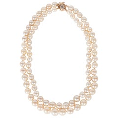 Graduated Baroque Pearl Choker with Gold Filigree and Trillion Diamond Clasp