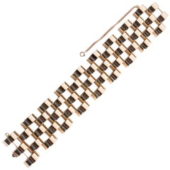 1940s Retro 14 Karat Yellow Gold Wide Link Bracelet