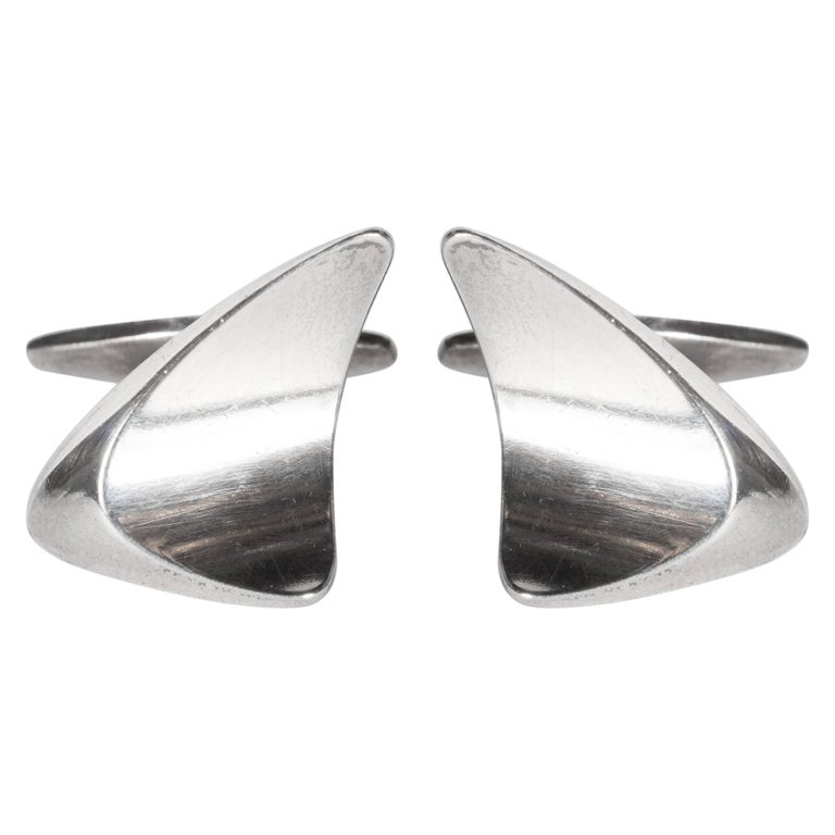 Mid-Century Modernist Space Age Sterling Silver Cufflinks by Georg Jensen