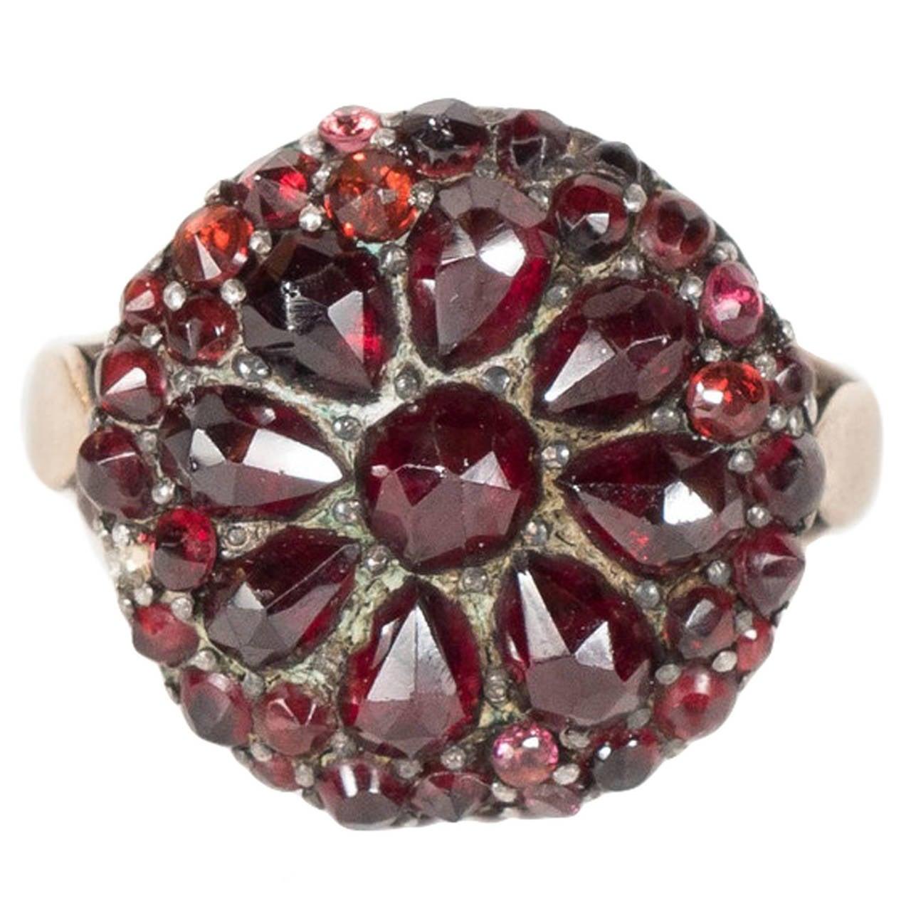 Antique Bohemian Garnet Silver Gold Starburst Design Cluster Ring For Sale