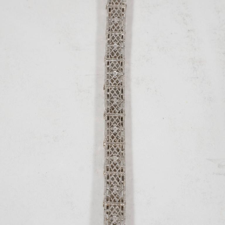 Elegant Art Deco White Gold, Diamond Bracelet Baroque Motifs 5