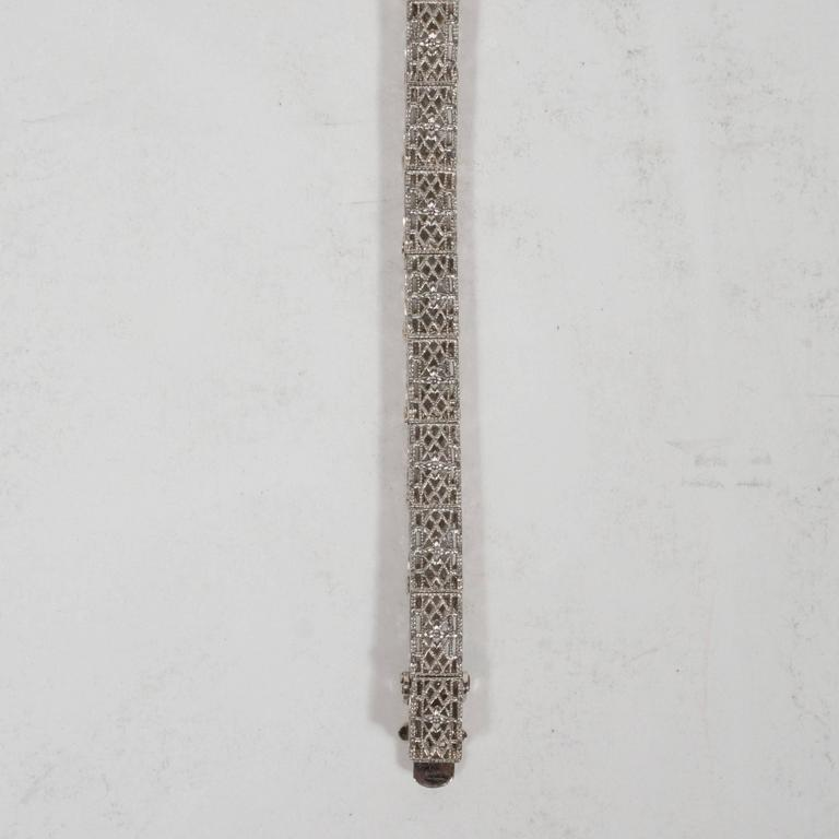 Women's Elegant Art Deco White Gold, Diamond Bracelet Baroque Motifs For Sale