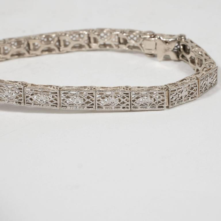 Elegant Art Deco White Gold, Diamond Bracelet Baroque Motifs For Sale 3