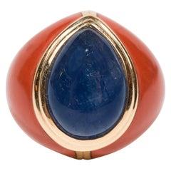 Mid-Century Modern Sapphire Jasper Gold Ring