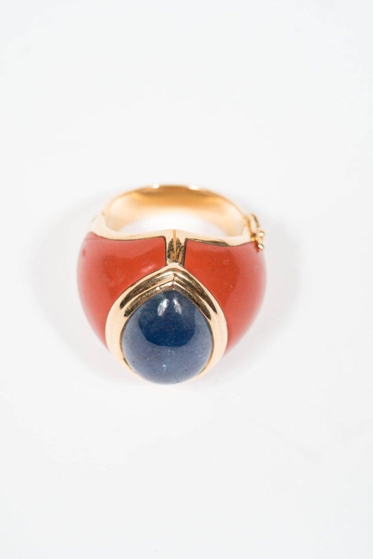 Modernist Mid-Century Modern Sapphire Jasper Gold Ring For Sale