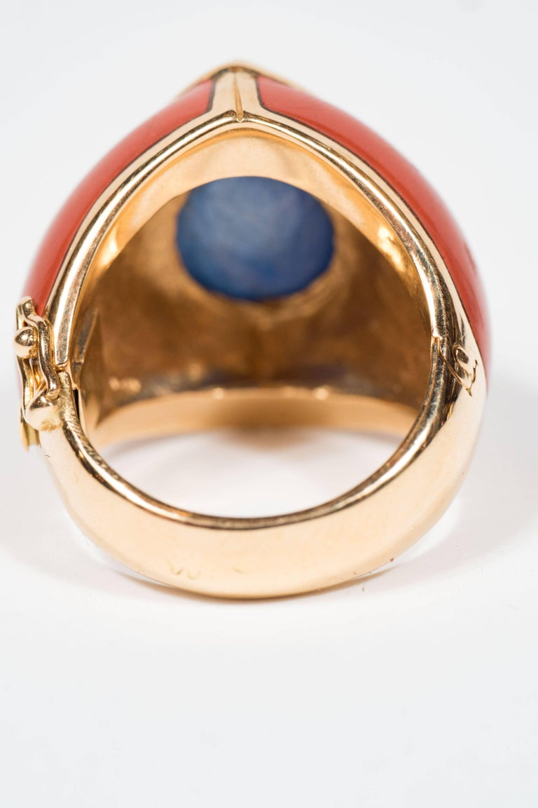 Mid-Century Modern Sapphire Jasper Gold Ring In Excellent Condition For Sale In New York, NY