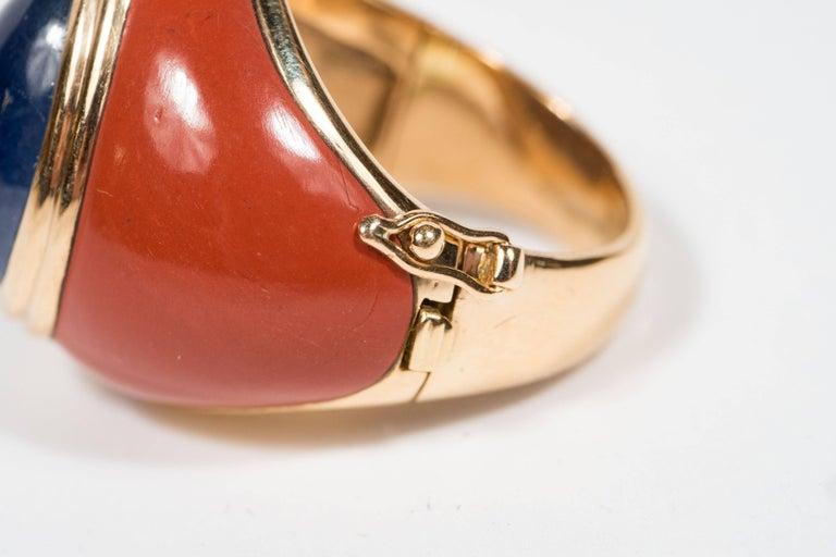 Women's Mid-Century Modern Sapphire Jasper Gold Ring For Sale