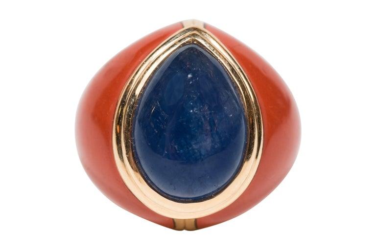 Mid-Century Modern Sapphire Jasper Gold Ring For Sale 1