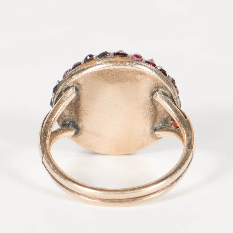 Victorian Antique Bohemian Garnet Silver Gold Starburst Design Cluster Ring For Sale