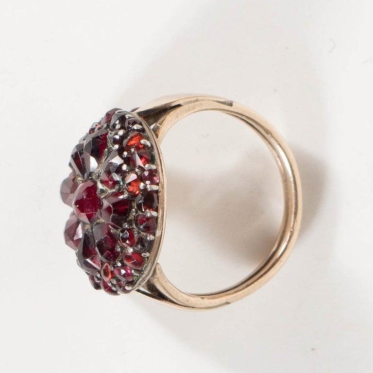 Antique Bohemian Garnet Silver Gold Starburst Design Cluster Ring 4