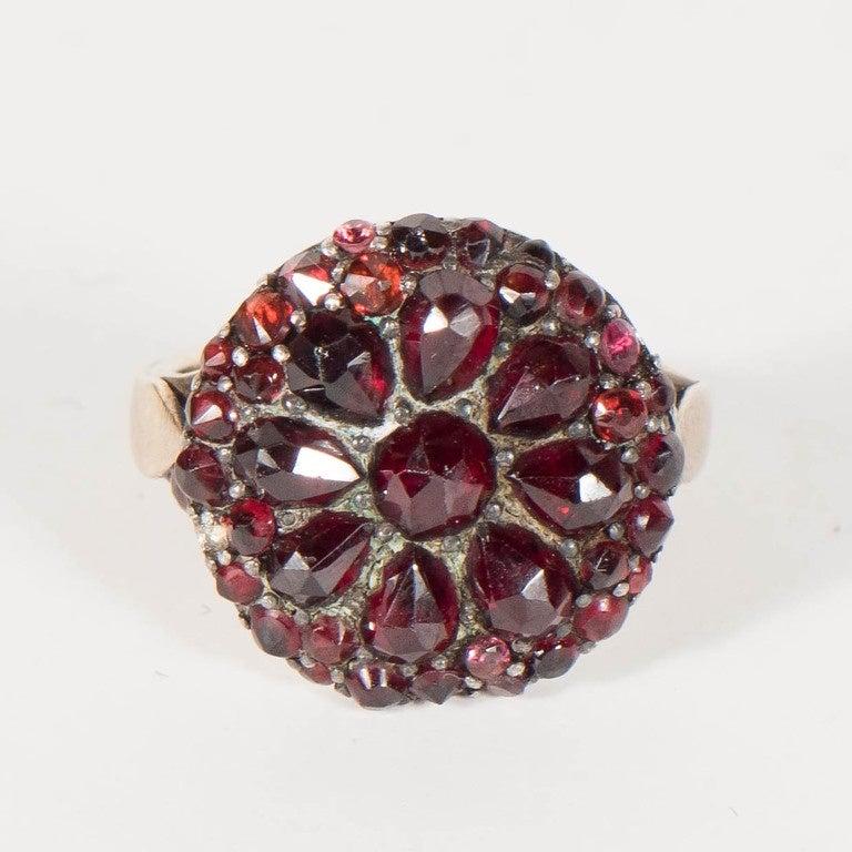 Women's Antique Bohemian Garnet Silver Gold Starburst Design Cluster Ring For Sale