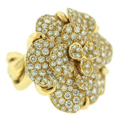 Chanel Diamond Gold Camelia Ring