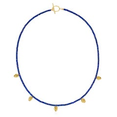 18 Karat Gold Lapis Lazuli Beaded Faces Pendant Necklace