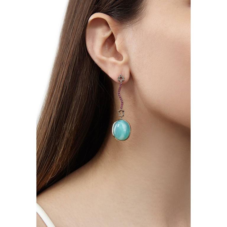 Milena Kovanovic Opal Ruby Gold Drop Earrings 2
