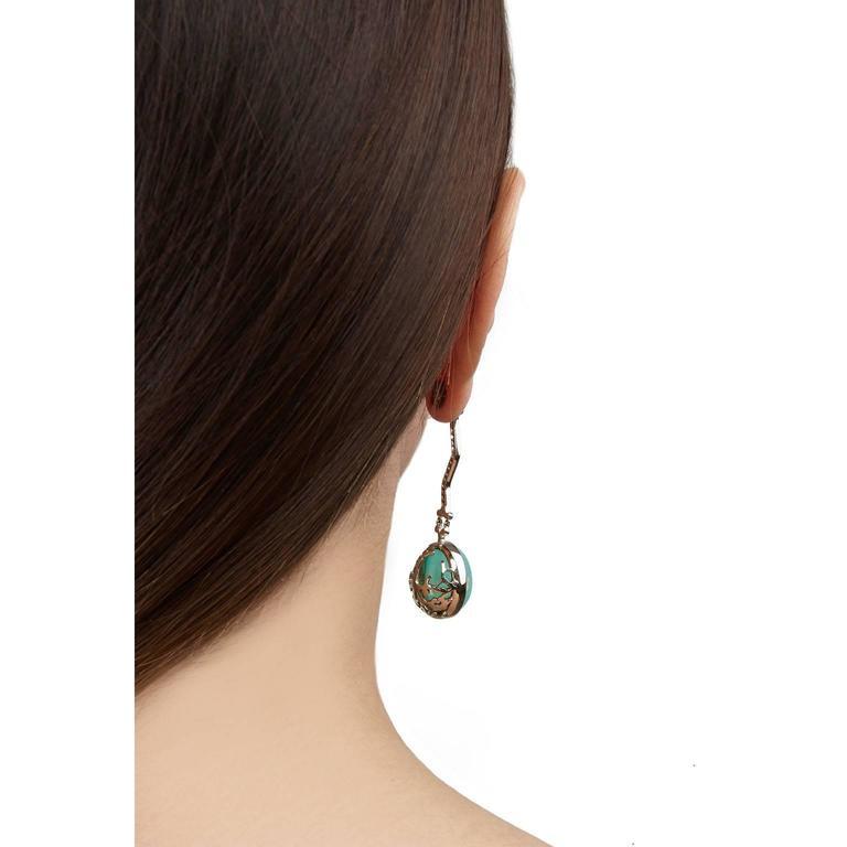 Milena Kovanovic Opal Ruby Gold Drop Earrings 3