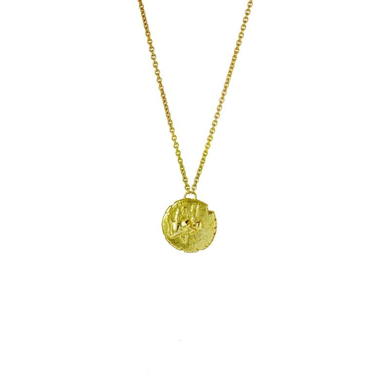 Medusa Yellow Gold Coin Necklace 2