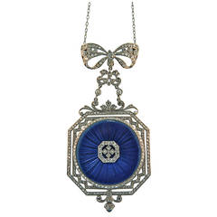 Spaulding & Co. Ladies Platinum Diamond Enamel Pendant Watch