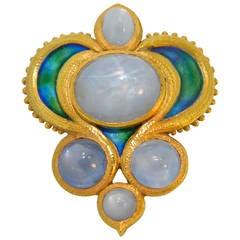 Marcus & Co Art Nouveau Enamel Star Sapphire Gold Brooch