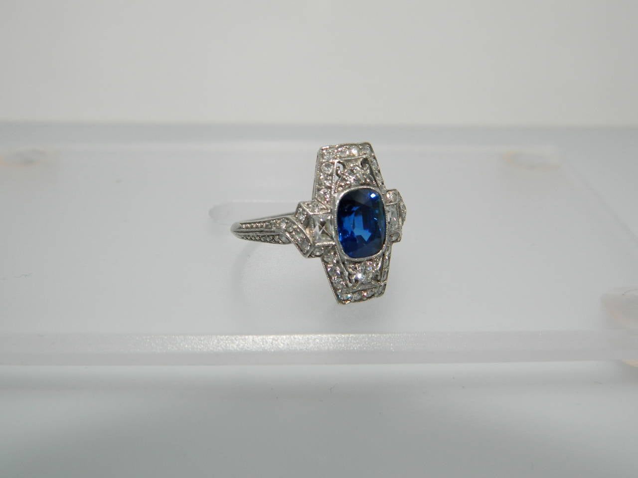 Tiffany and Co Edwardian Sapphire Diamond Platinum Ring at 1stdibs